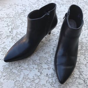 CLARKS COLLECTION Black Leather Kitten Heel Boots